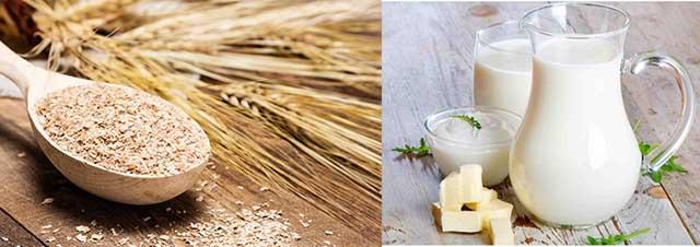 Пшеничные отруби и молоко