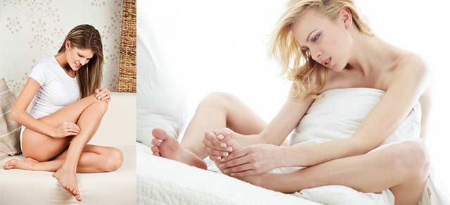 Девушка царапает ноги