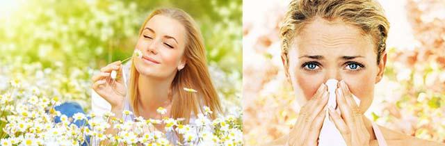 Девушка чихает, аллергия на цветы
