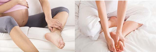 Беременные девушки гладят ноги