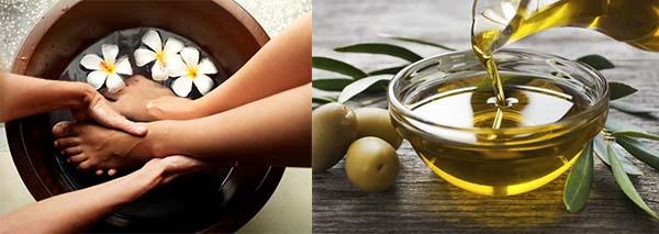 Массаж стоп с оливковым маслом