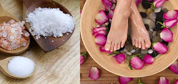 Ванночка для ног с морской солью и розами
