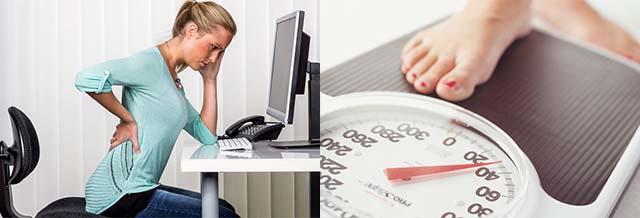 Девушка сидит за компьютером и встает на весы