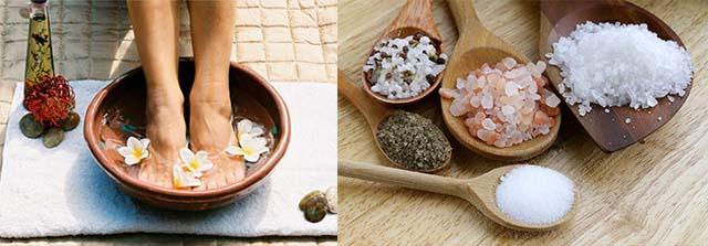 Ноги в ванной с морской солью
