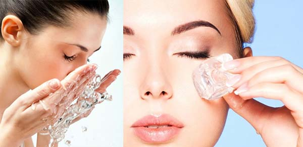 Умывание лица водой и льдом
