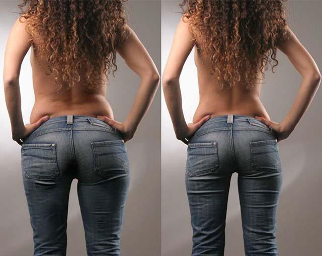 Девушка в джинсах худая и полная