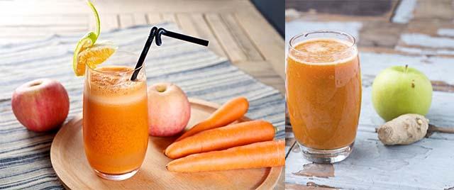 Свежевыжатый сок из яблока, моркови и имбиря