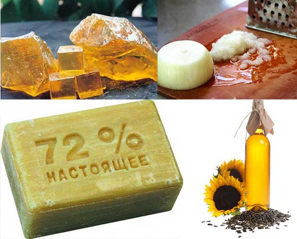 Канифоль, мыло, растительное масло и луковица