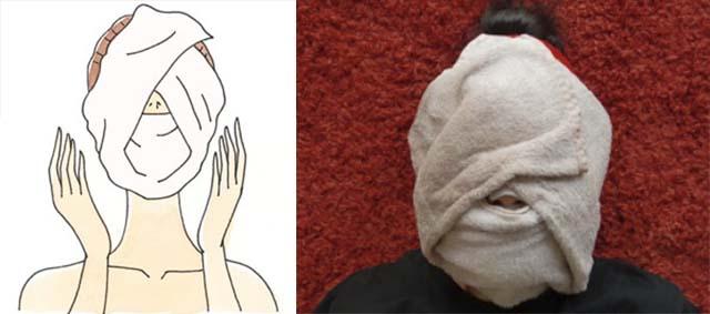 Накладывание на лицо мокрого полотенца
