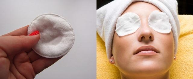 Антисептическое средство на ватном диске и на глазах