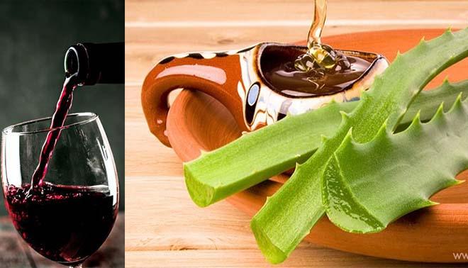 Мед, красное вино, мякоть листьев алоэ